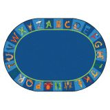 A to Z Animals! Rug, 8'3 x 11'8 Oval, Primary Colors