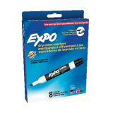 Expo® Low-Odor Dry Erase Markers, 8 Color Set, Chisel Tip