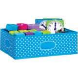 Aqua Polka Dots Storage Bin, Medium