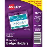 Avery® Heavy Duty Secure Top™ Badge Holders, 3 x 4 Landscape