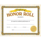 Certificate of Honor Roll