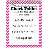Chevron Border Chart Tablet, 24 x 32, 1 1/2 Ruled, Pink