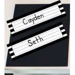 Schoolgirl Style™ Simply Stylish Black & White Stripe Desk Namplates