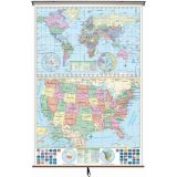 US/World Stacked Wall Map on Roller w/Backboard