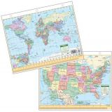 Laminated US/World Notebook Maps