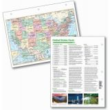 Laminated U.S. Notebook Maps with U.S. Facts