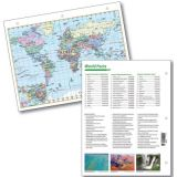 Laminated World Notebook Maps with World Facts