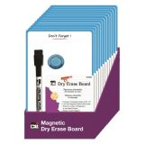 Dry Erase Boards, Personal Magnetic Don't Forget, 6.25 x 9, Marker w/Eraser and 1 Magnet, Blue Frame, 12/Shelf Tray