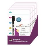 Dry Erase Boards, Personal Magnetic Planner, 6.25 x 9, Marker w/Eraser and 1 Magnet, 12/Shelf Tray