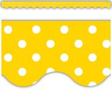 Yellow Polka Dots Scalloped Border Trim