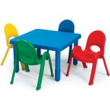 MyValue™ Toddler 28 Square Table & 4-Chair Set, Blue Table + 4 Blue Chairs