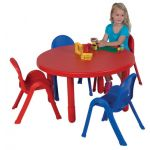 Value Table & 4-Chair Set, Round, Toddler size, Red Table + 4 Chairs (2 Red, 2 Blue)