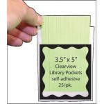 Clear View Self-Adhesive Library Pockets, 3.5