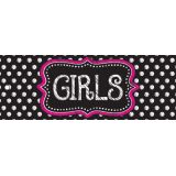 Laminated Double-Sided Hall Passes, 9 x 3.5, B&W Dots Girls Pass