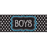 Laminated Double-Sided Hall Passes, 9 x 3.5, B&W Dots Boys Pass