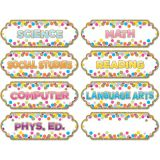 Magnetic Die-Cut Timesavers & Labels, Confetti Classroom Subjects