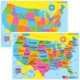 Smart Poly® Learning Mat, 12 x 17, Double-Sided, US Map Basic