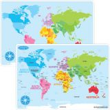 Smart Poly® Double-Sided Learning Mat, World Map Basic