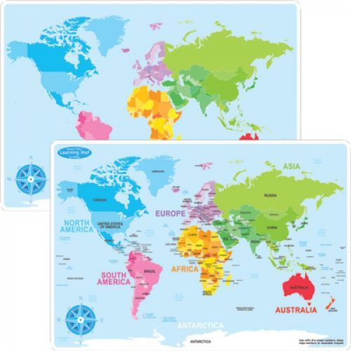 Smart Poly™ Double-Sided Learning Mat, World Map Basic, ASH95002
