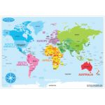 Smart Poly™ Double-Sided Learning Mat, World Map Basic