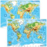 Smart Poly® Double-Sided Learning Mat, World Map Physical