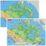 Smart Poly® Learning Mat, 12 x 17, Double-Sided, Canada Map Physical