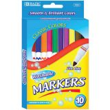 BAZIC® Washable Markers, Super Tip, 10 colors