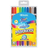 BAZIC® Washable Markers, Double-Tip, 16 colors