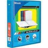 BAZIC® 3-Ring View Binder with 2 Pockets, 1, Cyan