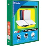 BAZIC® 3-Ring View Binder with 2 Pockets, 1.5, Green
