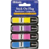 Bazic® Stick On Flags, 1/2 Color Coding Flags, 120ct