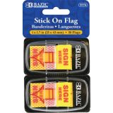 Bazic® Stick On Flags, 1 Yellow Sign Here Flags, 50ct