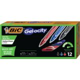 BIC® Gel-ocity® Quick Dry Retractable Gel Pens, Assorted Black, Blue & Red