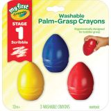 Young Kids Washable Palm-Grasp Crayons, Pack of 3