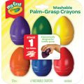 Young Kids Washable Palm-Grasp Crayons, Pack of 6