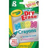 Crayola® Washable Dry-Erase Crayons, Neon colors, 8-color set