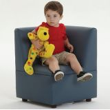 Just Like Home Modern Casual Cozy Corner Chair, Enviro-Child Upholstery, Blue