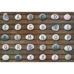 Stones Seating Rug with Alphabet, 6' x 9' Rectangle