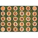 Tree Rounds Seating Rug with Alphabet, 8' x 12' Rectangle