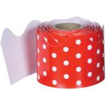Rolled Scalloped Borders, Red & White Dots