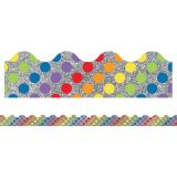 Sparkle + Shine Rainbow Dots on Glitter Scalloped Border