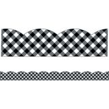 Schoolgirl Style™ Woodland Whimsy Black & White Gingham Scalloped Borders