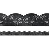 Schoolgirl Style™ Industrial Café Swirls on Chalkboard Scalloped Border