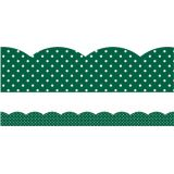 Schoolgirl Style™ Industrial Café Green with White Polka Dots Scalloped Border