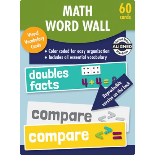 image relating to Printable Word Wall Cards With Pictures known as Math Phrase Wall Studying Playing cards, Quality 1, CD-145112