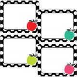 Schoolgirl Style™ Black, White & Stylish Brights Apple Name Tags