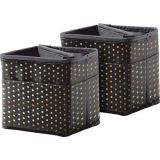 Tabletop Storage, Black with Gold Polka Dots
