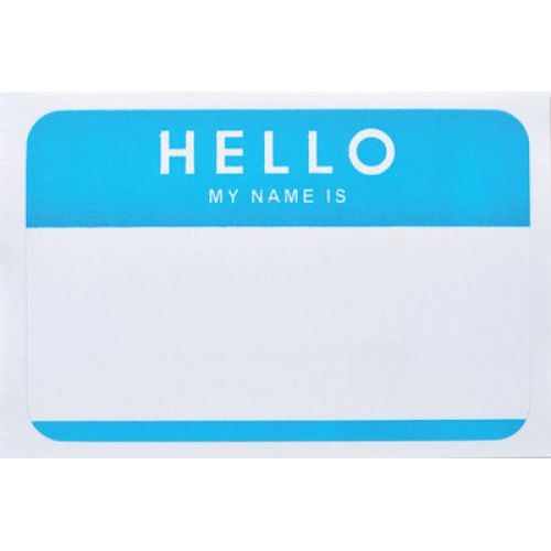 Self-Adhesive Name Badges, Hello, Blue, CHL93515
