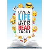 Emoji Fun Inspire U™ Poster, Live a life you would like to read about