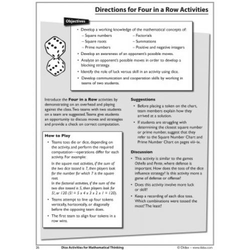 Dice Activities for Mathematical Thinking, DD-211096